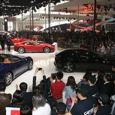 Ferrari had its entire lineup on hand, and they drew a huge crowd. Keep in mind this is press day; the general public is not allowed in.