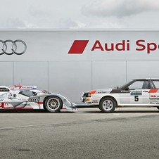 The R18 Poses with the Audi Quattro rally car