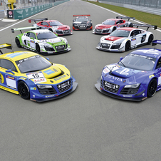 All 7 R8 LMS Ultras pose before the race
