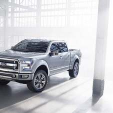 The truck features a newly styled grill and two-tier headlights