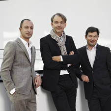 Habib (left) posing with Head of BMW Group Design Adrian van Hooydonk (center) and Head of Interior Design Marc Girard