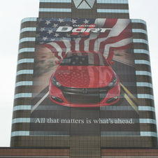 Chrysler Covers Headquaters with 13.5 floor Dodge Dart banner