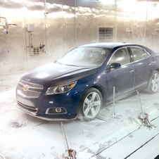 Chevrolet is testing the Malibu at sub-zero temperatures in its climatic wind tunnel