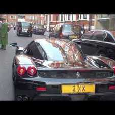 Chasing a Ferrari Enzo in Knightsbridge, London - Revving, Driving, Accelerating